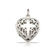 WithLoveSilver 925 Sterling Silver Filigree Cross Heart Shape Locket Pendant