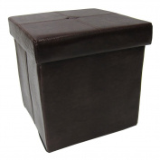 Europeware Faux Leather Foldable Ottoman, 38cm x 38cm , Chocolate