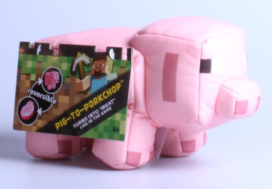 Minecraft Reversible Plush, Pig to Porkchop