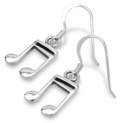 925 Sterling Silver 16th Note Musician Dangle Hook Earrings