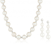 Sterling Silver Beaded Cultured Freshwater Pearl Necklace and Dangle Earrings Jewellery Set