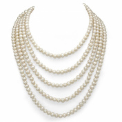 """6-7mm White Round Genuine Cultured Freshwater High Lustre Pearl Endless Necklace 84"""" Length."""