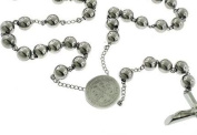 "Catholic Rosary Beads Pray Necklace Stainless Steel Saint Benedict Medal-28"" 6MM ,24"" 6MM OR 18"" 4MM"