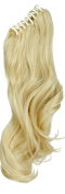 "S-noilite Fashion 18""(46cm) Long Big Wavy Bleach Blonde Claw Ponytail Clip in Hair Extensions One Piece Handy Jaw Pony Tail Sexy Lady Style Hairpiece"