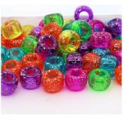 100 Ethnic Dreadlock Glitter Jelly Sparkle Hair Beads Hole Size 4mm