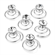 Silver Tone Round Facested Crystal Clear Diamante Hair Coils x 6