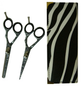 PROFESSIONAL HAIRDRESSING CUTTING BARBER SALON WHITE ZEBRA THINNING & SCISSORS