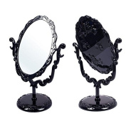 New Desktop Rotatable Gothic Small Size Rose Makeup Stand Mirror Black Butterfly FOR women girls