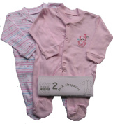Nursery Time BABY Boy or girl sleepsuit pack of 2 different designs Blue / Pink