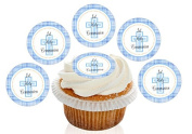 12 Large Pre Cut Blue Tartan pattern Cross 1st Holy Communion Edible Premium Wafer Cupcake Decorations Toppers - by Kreative Cakes