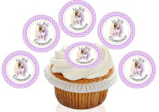 12 Large Pre Cut Purple Praying Girl 1st Holy Communion Edible Premium Wafer Cupcake Decorations Toppers - by Kreative Cakes