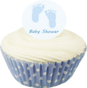 Blue Baby Feet Edible Wafer Cupcake Toppers