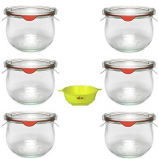 Viva Haushaltswaren - 6 Round Preserving Jars Tulip-Shaped 500 ml Including Clips, Rings and A Yellow Filling Funnel with Stop Mechanism