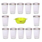 Viva-Haushaltswaren Set of 12 Jam Jars 150 ml with Silver Lid for Jams Chutneys Pastes etc Including Yellow Funnel