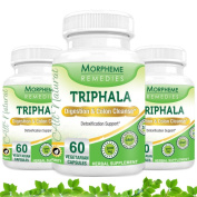 Morpheme Triphala Capsules for Digestion & Colon Cleanse - 500mg Extract - 60 Veg Capsules - 3 Combo Pack
