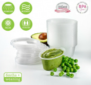 Babypotz - 20 180ml BPA Free Plastic Reusable Containers for Freezing Baby Food / Weaning Pots