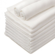 10 x White Luxury Soft for Newborn Baby, Muslin Squares, Cloth, Bibs Wipes 100% Pure Cotton Pack of 10 Reusable Nappy **Other choices available. See inside.**