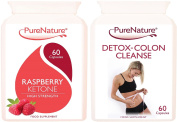 Pure Raspberry Ketones Extreme Strength 12000mg Daily & Detox Colon Cleanse Duo Pack Suitable for Vegetarians 1 Month Supply FREE UK Delivery