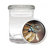 Dreamcatcher D4 Medical Glass Jar 7.6cm X 5.1cm Herb & Spices Native American Culture Web Net