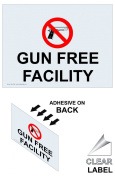 ComplianceSigns Vinyl Weapons Restricted Window Cling, 5 x 3.5 with English, 4-Pack Clear