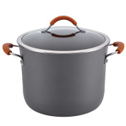 Rachael Ray Cucina Hard-Anodized Nonstick 9.5l Covered Stockpot, Grey with Pumpkin Orange Handles