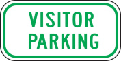 "Accuform Signs FRP286RA Engineer-Grade Reflective Aluminium Parking Sign, Legend ""VISITOR PARKING"", 15cm Length x 30cm Width x 0.2cm Thickness, Green on White"