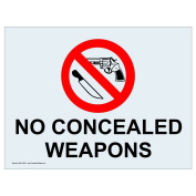 ComplianceSigns Clear Vinyl Concealed Carry Label, 13cm x 8.9cm . with English, 4-Pack