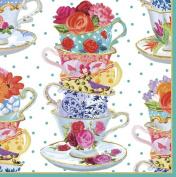 Caspari Entertaining Luncheon Napkin, Pink Tea Cups, 20-Pack