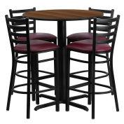 Flash Furniture 80cm Round Walnut Laminate Table Set with 4 Ladder Back Metal Barstools - Burgundy Vinyl Seat