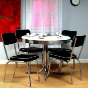 5-Piece Retro Style Dining Set - White/Black