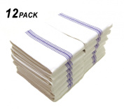 Cotton Craft - 12 Pack (One Dozen) Superior Professional Grade Kitchen & Dish Towels - 16x28 - 890mls - Scandia Stripe Tea Towels - White-Blue - Pure & Crisp 100% Cotton - Sturdy Herringbone Weave - Low Lint - Highly Absorbent - Choice of Chefs and ..