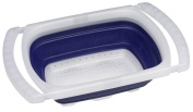 Progressive International 5.7l Collapsible Over-the Sink Colander, Blue and White