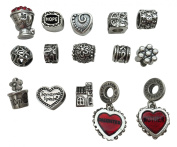 15pc Antique Silver Starter Charm Set Fits Pandora Charm Bracelet and Necklace - DIY for Jewellery Making and Crafting - Daughter & Mom with 2 Red Hearts