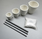 MELTING KIT DISH CRUCIBLES CUP TYPE MELT TORCH FURNACE 8Pc SET BORAX CARBON RODS