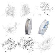 Jewellery Making Starter Findings Kit Elastic Cord Thread Chains Golden