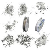 Silver Jewellery Making Starter Kit Findings Elastic Cord Thread