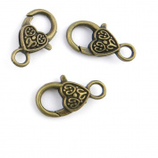 5 Pieces Jewellery Making Charms Carved Lobster Clasps findings craft lots necklace bronze