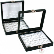 50 Gem Jars White Display Tray Glass Lid Travel Case