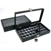 72 Gem Jars Black Display Tray Glass Lid Travel Case
