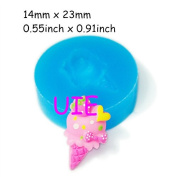 103LBX Ice Cream with Heart/Bow/Strawberry Silicone Mould 23mm - Cupcake Decoration Bakeware Polymer Clay Mould, Fimo Mould