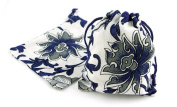 20pc Jewellery Navy Blue and White Flower Drawstring Jewellery Gift Bags 7.6cm x 10cm