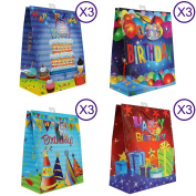 Happy Birthday Gift Bags, Gloss, 12 Piece Pack, Large
