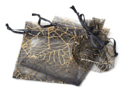 50PCS New Design Holiday Favour Black Gold Spider's Web Jewellery Organza Drawstring Gift Bags 7.6cm x 10cm