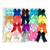 Set of 2 - Large 11cm Satin Cheer Bow with Tails and Pony O - Colour- Navy