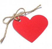 10 Red Heart Shaped Gift Tags / Hang Tags / Wedding Favour Tags with Jute Twine - (100% Recycled Card) - 70mm x 60mm
