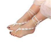 Miraclekoo Crochet Barefoot Sandals Anklet Handmade Foot Jewellery Wedding Jewellery Beach Nude Shoe Yoga Anklet