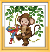 AngelGift Needlecrafts Stamped Counted Cross Stitch Set, Animal - Swinging Monkeys and Parrot