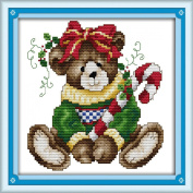 AngelGift Needlecrafts Stamped Counted Cross Stitch Set, Animal - Christmas Cubs