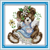 AngelGift Needlecrafts Stamped Counted Cross Stitch Set, Animal - Wearing a Skirt Bear