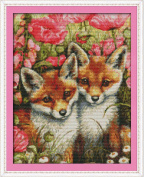 AngelGift Needlecrafts Stamped Counted Cross Stitch Set, Animal - Poppy and Fox